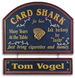 Personalized Poker Card Shark Sign w/Nameboard