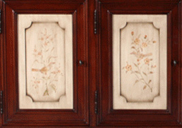 Hand Painted Bird with Apple Blossoms Door Panels (Pair)