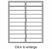 """Maco ML-2025 White Inkjet & Laser Address Labels - 1"""" x 4"""" (Avery # 5261 Compatible) - click to enlarge"""