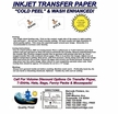 Inkjet Transfer Paper-For White or Light-Colored Fabrics