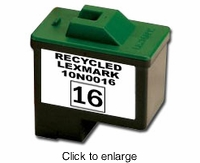 Remanufactured Lexmark 10N0016 Inkjet Cartridges (# 16) Black - click to enlarge