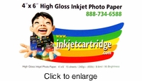 "Inkjetcartridge.com 4 x 6"" High Gloss Inkjet Photo Paper - click to enlarge"