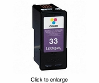 Recycled Lexmark 33 (18C0033) Tri-Color Inkjet Cartridges - click to enlarge