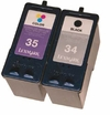 Recycled Lexmark 34 (18C0034) & 35 (18C0035) Black and Tri-Color Inkjet Cartridge Bundle