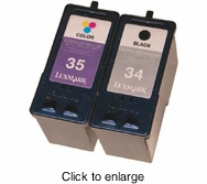 Recycled Lexmark 34 (18C0034) & 35 (18C0035) Black and Tri-Color Inkjet Cartridge Bundle - click to enlarge