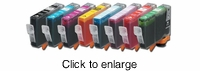 Canon BCI-6Bk, BCI-6C, BCI-6M, BCI-6Y, BCI-6PC, BCI-6PM, BCI-6R, & BCI-6G Compatible Cartridge Set for Canon i9900 & iP8500 - click to enlarge