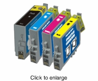 Set of 4 Epson C84 / C86 / CX6400 & CX6600 Remanufactured Inkjet Print Cartridges - click to enlarge