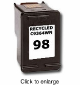Recycled HP C9364WN ( HP 98 ) Black Inkjet Cartridges - click to enlarge
