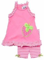 Neon Pink Stripe Trim Short Set With Strawberry Applique