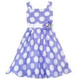 Rare Editions Periwinkle/ White Pleated Dot Dress