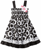 Black/ White Floral Dress With Eyelet Trim