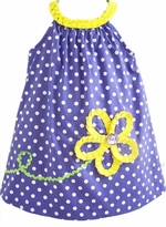 Periwinkle/ White Polka Dot Dress With Yellow Flower