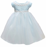 Infant or Newborn Special Occasion Dress: Blue Baby Princess Tulle Flower Girl Dress - out of stock