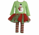 Bonnie Jean Collection : Girl's Wavy Green Snowman Tutu Legging Set