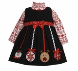 Girl's Holiday Dress: Ornaments Applique Dress Set