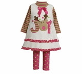 Bonnie Jean Collection: Ivory Joy Reindeer Dress Set