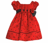Girl's Holiday Dress:  Matte Red Satin Empire Waist Dot Dress