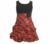 Girl's Christmas Dress: Sleeveless Red Plaid Dress