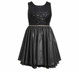 Girl's Party Dress: Silver Sequin  Metallic Knit Special Occasion Dress