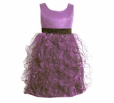 Girl's Special Occasion Dress: Purple Organza Metallic Chiffon Dress