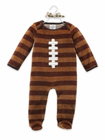 Brown Baby Boy's Sleeper: Mud Pie Infant Boy's Football One Piece