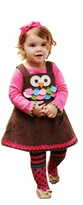 Mud Pie Baby Girl's Exclusive 3-Piece Owl Jumper Dress with Tights and Turtleneck