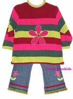 Back to School / Girls Clothes - Flower Power Sweater Set