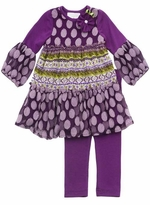 Rare Editions : Girl's Toddler or 4-6x Purple Multi Lace Dress with Legging Set