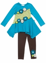 Rare Editions Girls Outfits : Turquoise Colorblock  with 3D Flower Trim Girls Legging Set