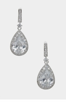 Cubic Zirconia Micro Pave Teardrop Dangle Earrings