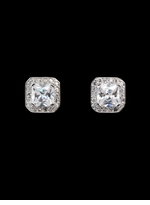 2 Carat Cubic Zirconia Princess Cut Stud Earrings