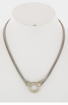 Crystal Circle Necklace Silver and Gold Plated Two Tone Necklace