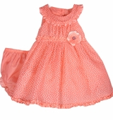 Rare Editions Infant Dress - Coral Dot Organza Retro Dress  CLEARANCE