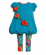 Infant Toddler Teal Floral Knit Legging Set  CLEARANCE