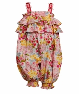 Baby or Toddler Girls Pink Ruffle Glitter Coverall