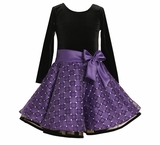 Infant or Girls Purple and Black Sparkle Hipster Dress
