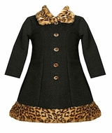 Bonnie Jean Black Sparkle Fur Trimmed Dress and Coat