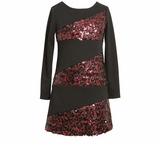 Pink and Black Sequin Banded Dress