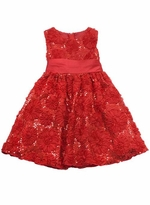 Rare Editions Dressy Girls Red Sequin Flower Soutache Dress