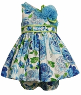 Baby or Toddler Girls Easter Dress -  Blue Floral One Shoulder Dress