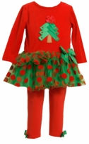 Red Velour Christmas Tree Tutu Legging Set  sold out