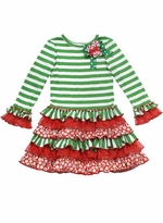 Girls Christmas Dress - Rare Editions Holiday Christmas Tree Dress