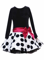 Girls Special Occasion Dress - Black / Ivory Velvet Dot  - OUT OF STOCK -