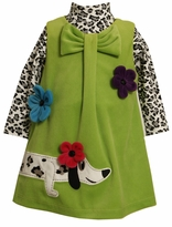 Bonnie Jean Green Knitcord Dachsund Dress