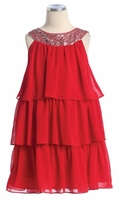 Girls Red Dress -  Triple Tiered Sequined Party Dress  GIRLS SIZE 2 LAST ONE