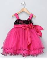 Pretty Girls Party Dress -  Fuchsia