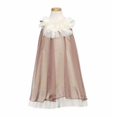 Girls Float Dress with Petal Neckline - Mocha / Ivory - SIZE