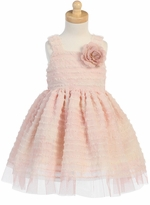 Lito Girls Dresses : Peach Dress Sleeveless Chiffon