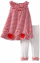 Bonnie Jean Bonnie Jean Toddlers 2T - 4T Red and White Stripe and Dot Ruffle Trim Heart Applique Knit Legging Set