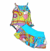 SIZE 6X LAST ONE SPF 50 Hawaiian Rainbow Swimsuit and Skirt